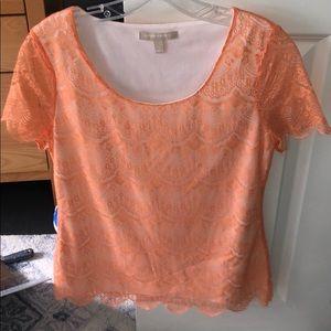 Orange lace shirt from banana republic